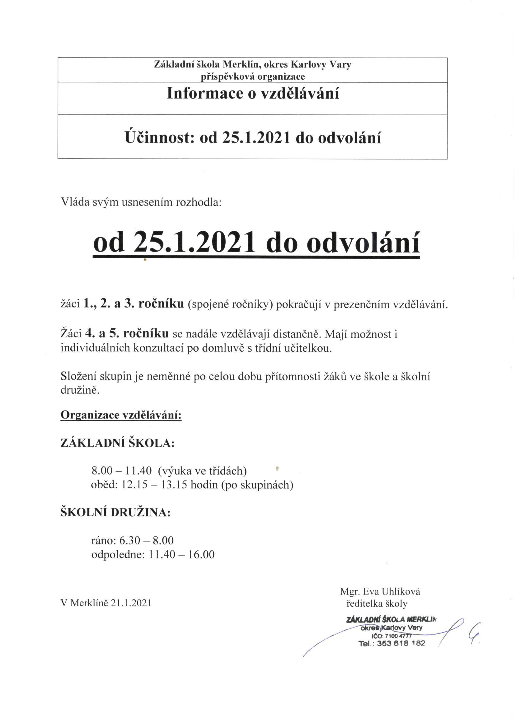 Organizace DV po 25. 1. 2021