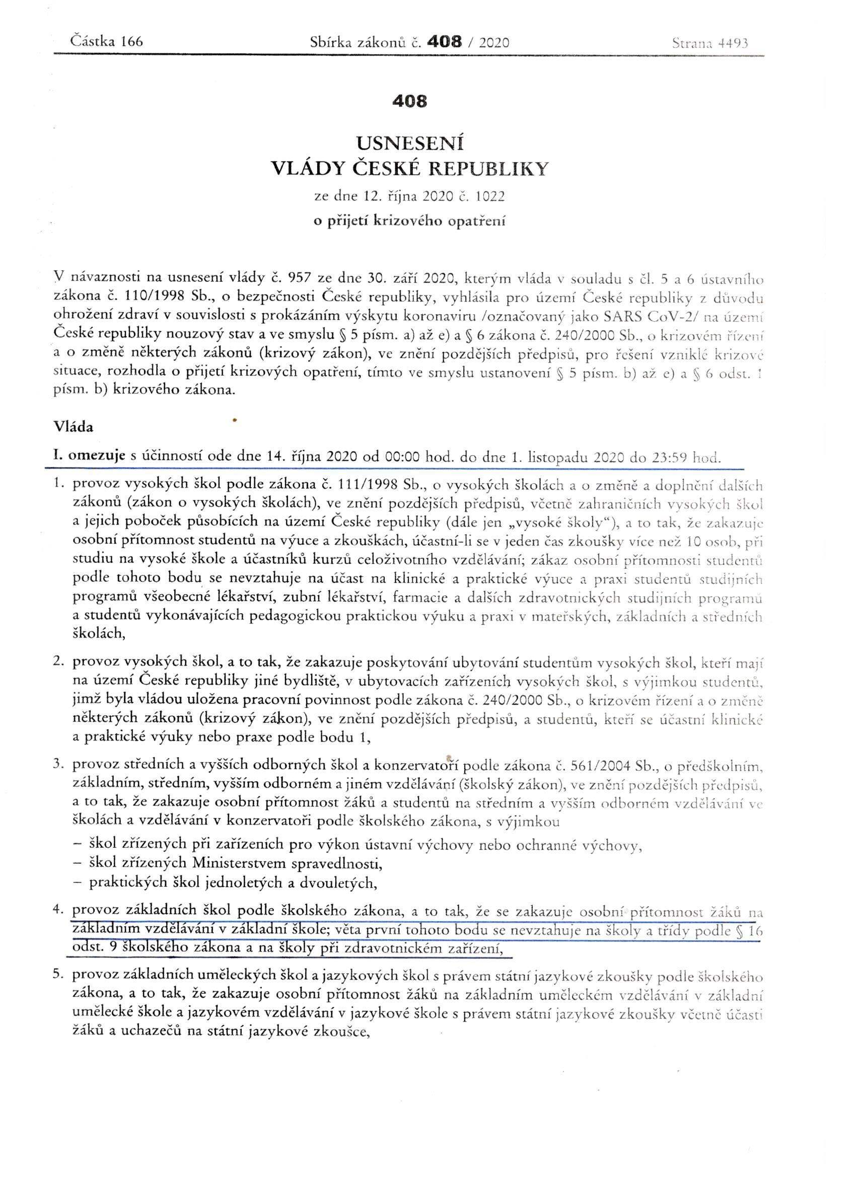 Usnesení vlády, 12. 10. 2020