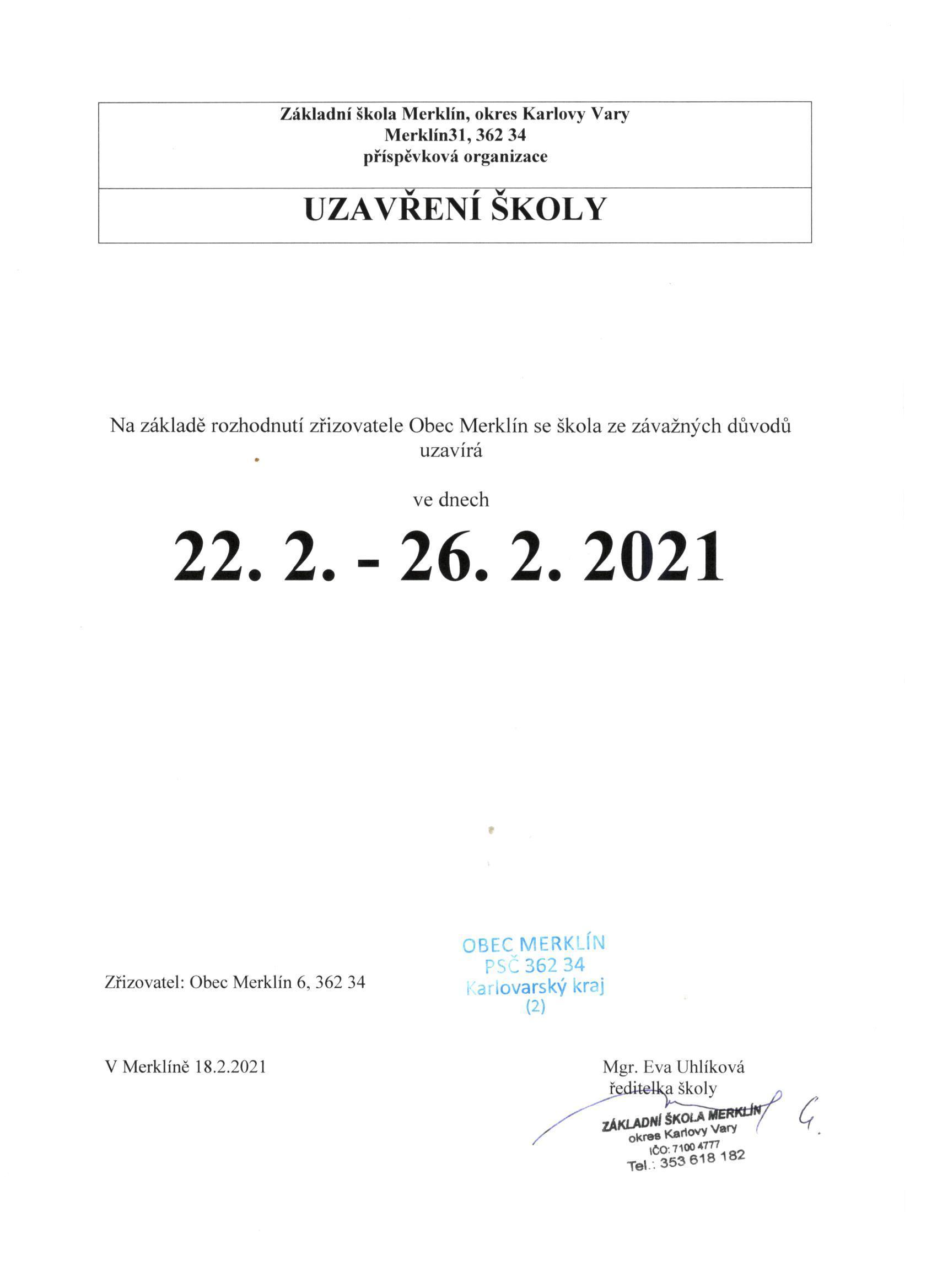 Uzavření školy do 26. 2. 2021